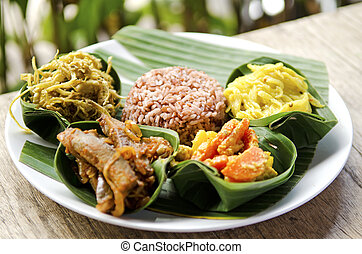 indonesian food in bali, several curries and rice