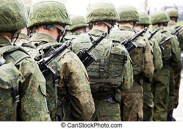 militar, uniforme, soldado, fila