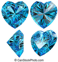 Blue heart diamond cut gem isolated different views with...