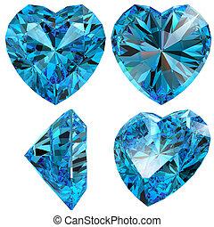 Blue heart diamond cut gem isolated