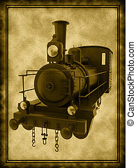 Old steam train on old background