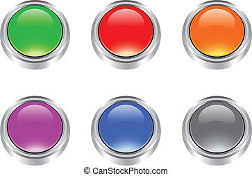 Set of vector glossy blank buttons