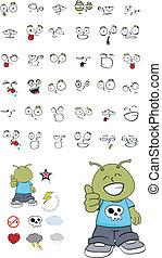 alien kid cartoon set1