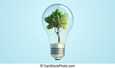 new energy bulb tree loop alpha - 360' Rotation Of green...