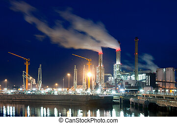 Dock and power plant at night