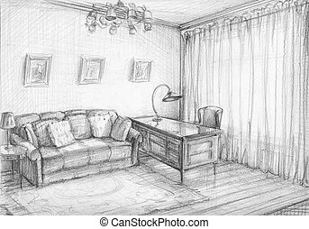 interior sketch - The interior sketch of the cabinet Pencil,...