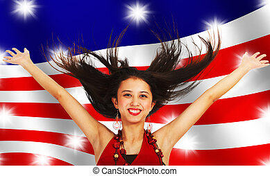 American Girl Celebrating - American Girl With Arms And Hair...