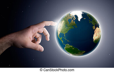 Earth creation - the God hand creates the planet earth