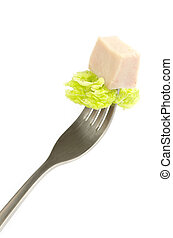 Meat on a fork isolated on white background