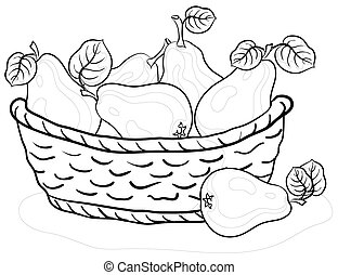 Basket with pears, contours - contours, wattled basket with...