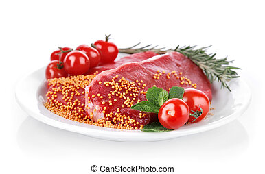 raw meat with spice on plate