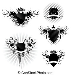 Shield designs set  - Black and white shields