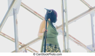 Girl on the roof - Creative shooting a clip for mounting. A...