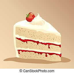 Cake - A slice of rich strawberry gateau with fresh whipped...