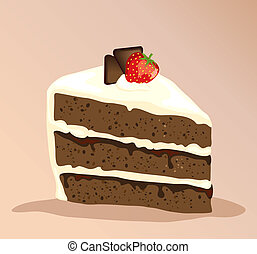 Chocolate cake - A slice of white and dark chocolate cake...