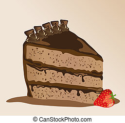 Chocolate gateau - A slice of chocolate gateau with a...