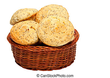 muffins in basket - lemon poppy seed muffins in basket...