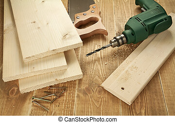 Wood working - Wood work tools and planks. Including hand...