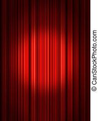 holofote, teatro, cortinas
