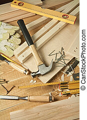 Wood working - Wooden workshop table with tools.