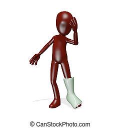 Gypsum - A man with a broken leg. 3d render