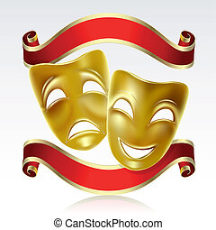 Theatrical masks - Theatrical mask with a red ribbon Mesh