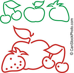 Fruit contour animated: apple, strawberry, cherry, vector...