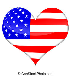 American Heart - American heart styled flag isolated over...