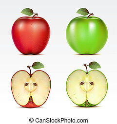 Set of apples - Set of red and green apples and their halves