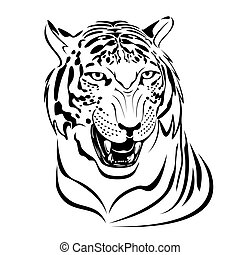 Tiger - Snarling tigers head illustration in black lines