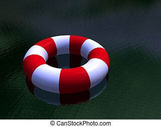 Red and white life guard ring