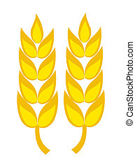 Wheat ears - Two golden wheat ears vector illustration