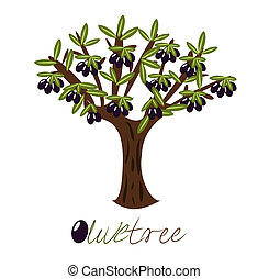 Olive tree full of black olives.