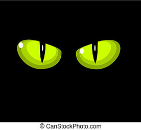Green cat eyes - Green wild cat eyes over black background