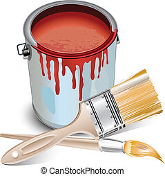 Tin with paint and brushes - Tins with building paint opened...