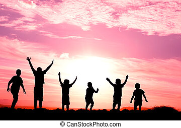 six jumping childen silhouette - six children jumping for...
