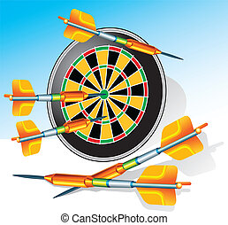 Darts - Game darts with round target and greater arrows,...