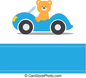 Bear driving a car Child card