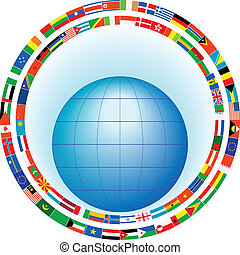 globe in a frame of flags - The globe in a frame of flags of...