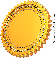 Golden medal award seal blank round