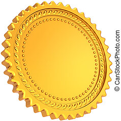 Blank golden seal award round medal
