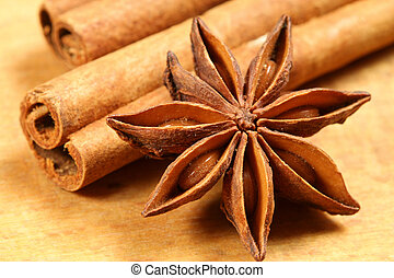 Aniseeed and cinnamon - Anise star and cinnamon sticks on...