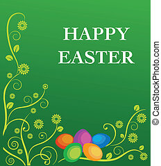 Easter card with flowers and colorful eggs on green...