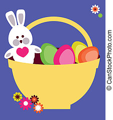 basket full on colorful eggs and Easter bunny