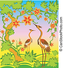 Two herons in east style - Two herons under a blossoming...