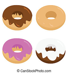 Donuts - Cartoon illustration of four different types of...