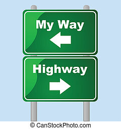My way or the highway - Glossy traffic signs showing two...