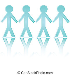 Paper chain men - Illustration of cartoon blue paper chain...