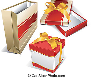 Package and two box - Package for meal, box for souvenirs,...
