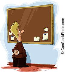 Bulletin board - A man looks at a bulletin board, vector